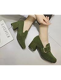2017 lado del resorte solos zapatos hebilla hembra con hebilla altos talones de cuero de metal con zapatos mate , green , 6