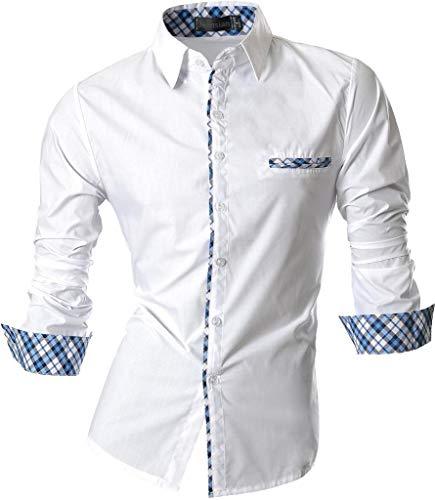 jeansian Herren Freizeit Hemden Slim Long Sleeves Casual Shirts Dress Shirts Tops (USA XXL, Z020_White)