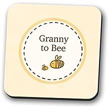 Abuela a ser posavasos mantel individual, nuevo bebé ducha regalo Bumble Bee cuadrado 9cm x 9cm