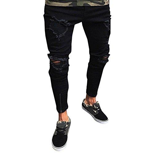 Jeans uomo strappato, rcool jeans skinny da uomo casual denim pantaloni slim fit elasticizzati con cerniera nero s-4xl,