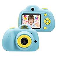 Sunower 8MP HD Video Camera Kids Toys Camera for 3-6 Year Old Girls Boys, Compact Cameras for Children, Best Gift for 5-10 Year Old Boy Girl Creative Gifts, Blue (TF Card Not Included)