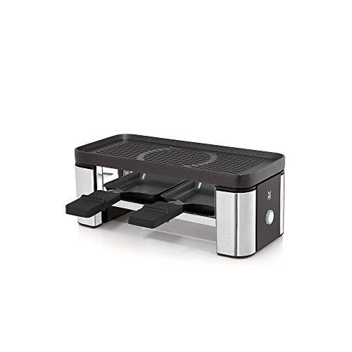 WMF Küchenminis Raclette Grill mit Pfännchen, Schieber und Keramikschüssel für Schokoladenfondue, Raclette 2 Personen, 370 W, cromargan, matt/silber