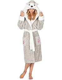 Ladies Womens Animal Hooded Robe Dressing Gown Winter Warm Fleece INSIGNIA