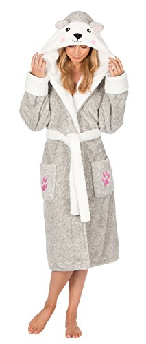 femmes animal costume Capuche Robe de chambre hiver chaud polaire confortable chausettes - Ours, Medium