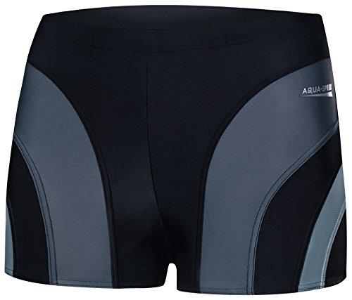 Aqua Speed® Sasha Herren Badehose | Schwimmhose | S-XXXL | Modern | Malaga Gewebe UV-Schutz | Chlor resistent | Kordelzug, Größe:XXL, Farbe:13 / Black Gray Light Gray
