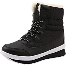 Logobeing Botines Mujer Planos Zapatos Mujer Botas de Nieve Botas para Mujer de Invierno Mantener Cálidos