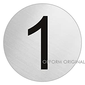 ofform plaque de porte en acier inox bross num ro 1 pour porte chambre 75 mm. Black Bedroom Furniture Sets. Home Design Ideas