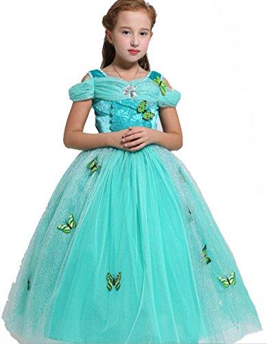 Schneeflocke Prinzessin Kostüme Mädchen (AGOGO Prinzessin Kostüm Kleid für Mädchen Schmetterling fancy Kleid Karneval Kostüm Partei cosplay faschingskostüm festkleid Weihnachten Halloween Party Kleid 104 116 128 140 152 (Größe 110cm,)