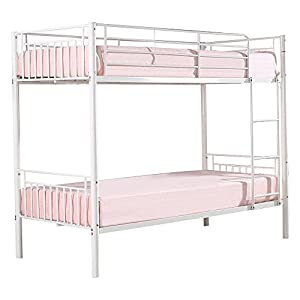 M&H Designs Saffron White Bunk Bed Frame, Metal