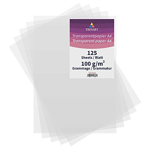 Tritart Transparentpapier Bedruckbar Weiß DIN A4 | 125 Blatt 100g/qm | Papier Transparent