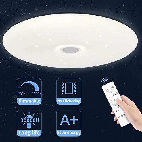 Deckenleuchte Led Dimmbar Sternenhimmel Fernbedienung, 24W Deckenlampe Schlafzimmerlampe kinderzimmerlampe wohnzimmerlampe mit Warmweiß/Kaltes/Natürliches Licht, Rund Flach Ultra Dünnach