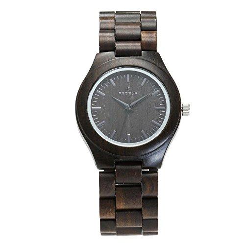 c26d6dff LALE Ebony Wooden Watch,Vintage Quartz Analog Pointer Stainless Steel  Buckle Hypoallergenic Watch Lightweight Fashion