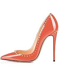 Caitlin Pan Damen Stilvolle Runde Zehe High Heel Slip-on Pumps mit Nieten beschlagenen Circled Stiletto Dress...