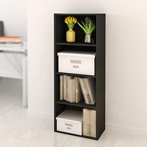 DFHHG® Estantería Librería Estantería 106 * 40 * 24 Cm Estantería de cuatro capas Estantería de combinación Almacenamiento Gabinete de almacenamiento Negro durable