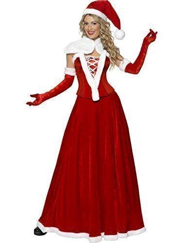 Damen 5 Piece Lang Voll Länge Luxus Korsett Santa Weihnachten Festive Party Kostüm Korsett Mrs Miss Missy Claus Outfit - Rot, 8-10 (Miss Kostüm Claus)