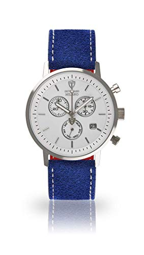 DETOMASO Milano Mens Watch Chronograph Analogue Quartz Blue Leather Strap White dial DT1052-B-808