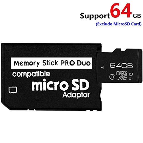 Micro-SDHC-Speicherkartenadapter auf MS PRO Duo für Sony PSP-Kamera und andere, unterstützt max. 64 GB Micro-SD-Karte schwarz Schwarz