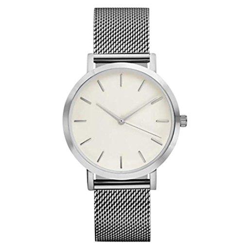 Sonnena Damen Armbanduhren, Luxus Mode Kristall Edelstahl Analoge Quarz Armbanduhren Frauen Minimalistische Lederband Uhr Damenuhr Outdoor Armbanduhr Armband Wrist Watch (Silber)