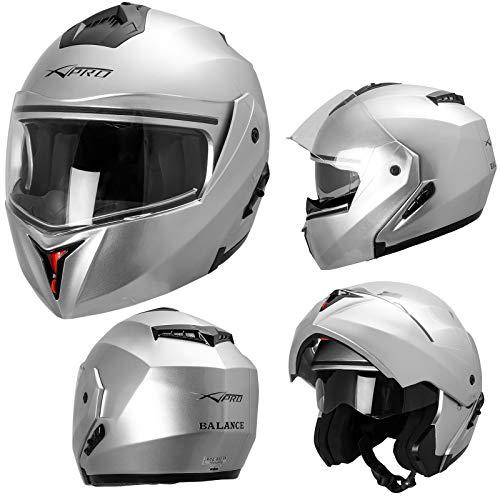 Casque Intégral Double Visière ECE 22-05 Moto Scooter Argent L
