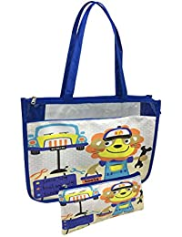Shopaholic 2pc Set Shoulder Shopping Bag & Pouch For Kids/teenagers-Funny Driver With Tools