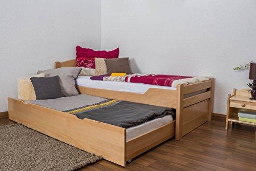 """Einzelbett/Funktionsbett\""""Easy Premium Line\"""" K1/h Voll inkl. 2. Liegeplatz und 2 Abdeckblenden, 90 x 200 cm Buche Vollholz massiv Natur"""
