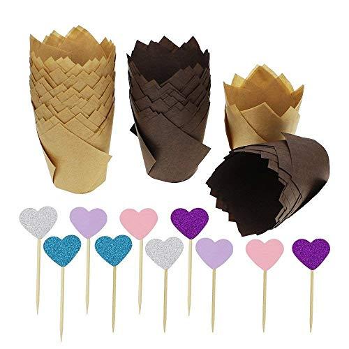 SelfTek 120 Stück Tulip Backförmchen Muffin Backförmchen Tulip Cupcake Liners Papier Muffin Cups mit 20 Stück Kuchen Topper (Folie Herz-backförmchen)