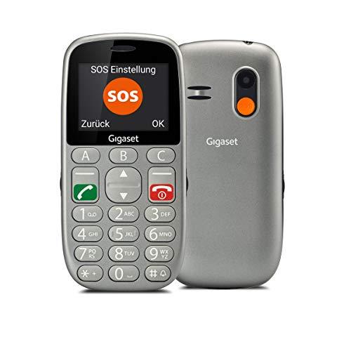 Gigaset GL390 GSM Handy ohne Vertrag für Senioren (mit SOS-Funktion, Komfortable Ausstattung, Farbdisplay 2,2 Zoll, Mobiltelefon mit extra großen Einzeltasten zur einfachen Bedienung) titan-silber -