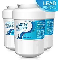 AQUACREST MWF NSF 53&42 Certifiée Cartouche pour Réfrigérateur, Compatible avec GE SmartWater MWF, MWFA, MWFP, GWF, GWFA, GWF01,101057A, 101300A, Sears/Kenmore 9991, 46-9991, 9996, 9905, WF07 (3)