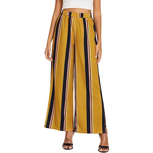 Sunnywill Damen Hosen Sommer High Waist Elegant Stretch Mode gestreifte lässige Leggings Damen weites Bein Hose