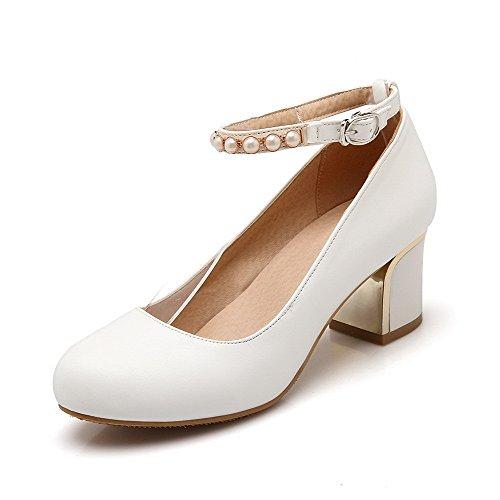 VogueZone009 Femme Mosaïque Pu Cuir à Talon Correct Fermeture DOrteil Rond Boucle Chaussures Légeres Blanc