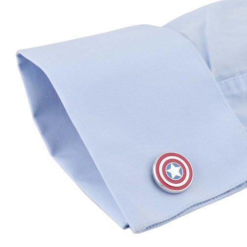 Rhodium Plated Captain America Cufflinks Marvel Comics Formal Wear - 4