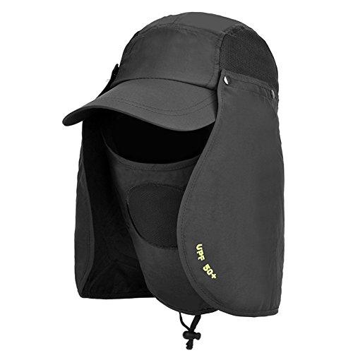 WYYY Chapeaux Hommes Visière Polyester Respirant Complet Protection Contre Le Soleil Protection UV De Plein Air 52-60cm (Couleur : Noir)