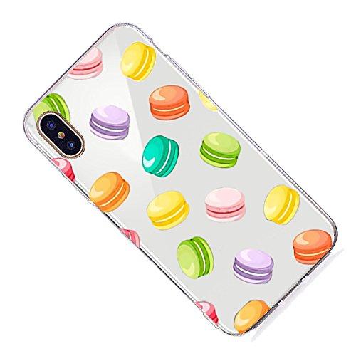 Inonler custodia Caramelle carine, dolci deliziosi, silicone TPU trasparente e morbido disegnoper il iPhone X, Custodia Viola Multicolore