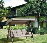 Hollywoodschaukel | SORARA | 3-sitzer | Braun / Grau | extra stabile Ausführung | Gartenschaukel Gartenliege Schaukelbank Gartenmöbel