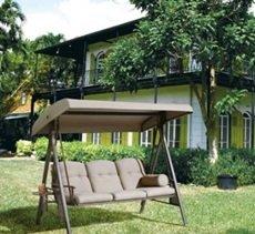 Dondolo   SORARA   3 posti   Marrone / Grigio   Struttura extra stabile   Dondolo da giardino Sdraio Altalena Mobile da giardino