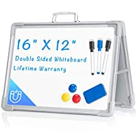"""Small Dry Erase White Board, Arcobis 12"""" x 16"""" Magnetic Double-Sided Desktop Foldable Whiteboard Easel for Classroom Home Office"""