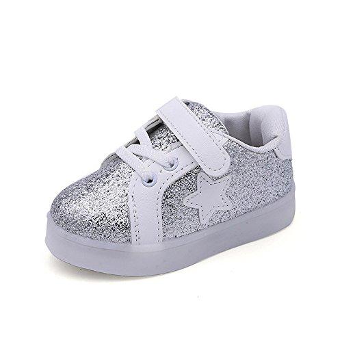 Baby Sneaker LED Leuchtende Kinder Kleinkind Beiläufige Bunte Helle Schuhe 1-6Jahre (24, Silber) (Silber Kleinkind Stiefel)