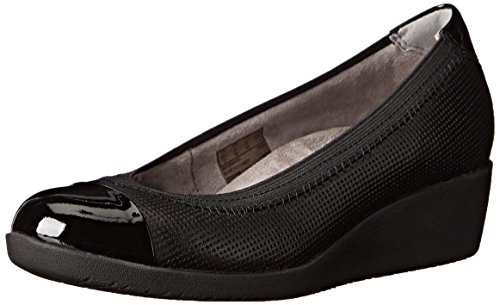 Clarks Petula Sadie Wedge synthétique Black Leather Combo