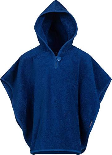 Morgenstern Kinder Poncho mit Kapuze und Knopf am Kragen blau