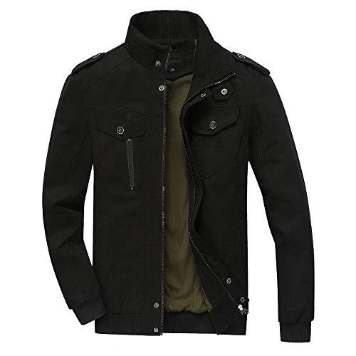 Xmiral Herren Winter warme Jacke Mantel Outwear dünne Lange Graben Reißverschluss Mantel (XL,Schwarz1)
