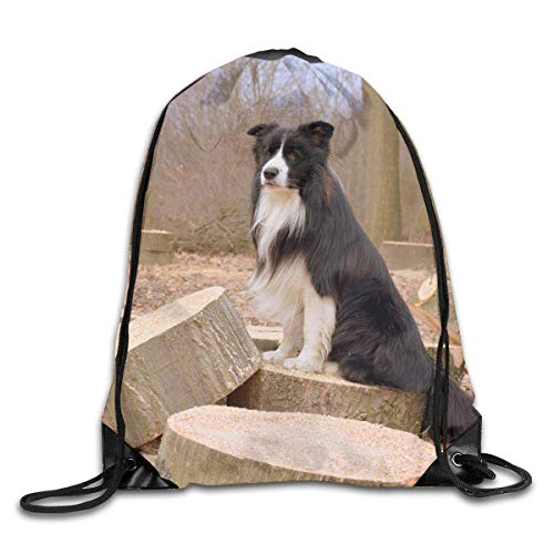 Naiyin Border Collie Wooden Logs Dog FurryDrawstring Bag Backpack Sackpack Shoulder Bags Gym Bag Lightweight Gym for Men and Women Hiking Swimming Yoga Key Log