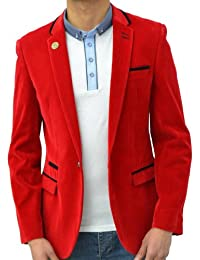 Designer Marc Darcy Men's Blazer Tailored Fit Velvet Smart Coat Jacket Red