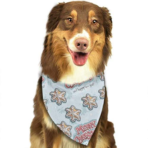 Gxdchfj Funny Merry Christmas Star Cake Fashion Dog Bandana Pet Accessories Easy Wash Scarf