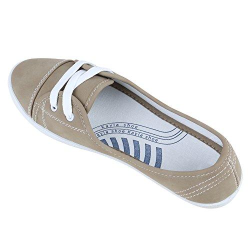 Klassische Damen Ballerinas | Sportliche Stoffschuhe | Slipper Flats | Sneakers Slip-ons | viele Farben Khaki Weiss