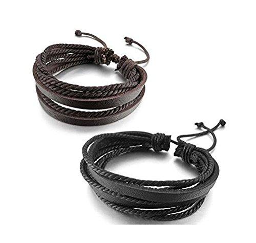 homiki 2 mehrsträngige Echtleder-Armbänder in Schwarz und Braun, mit Flechtkordeln, für Damen und Herren -