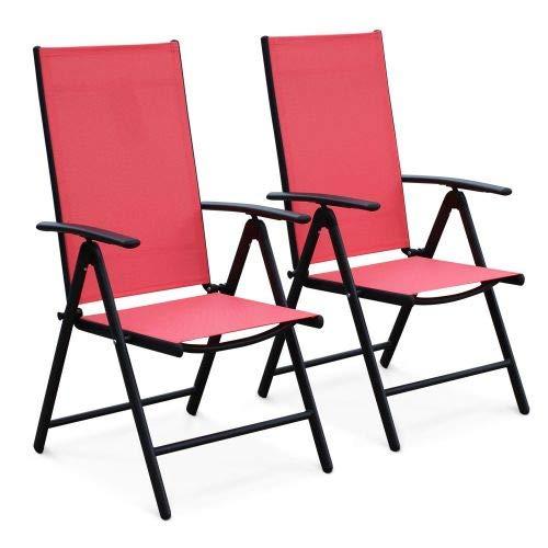 Alice's Garden Lot de 2 fauteuils Multi-Positions Naevia en Aluminium Anthracite et textilène Corail