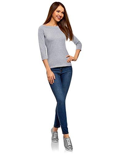 oodji Collection Damen T-Shirt mit 3/4-Arm Grau (2000M)