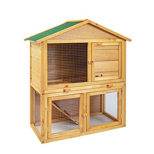 Maxxpet jana gabbia per conigli - criceto conigliera da esterno giardino - casa per piccoli animali in legno di abete - 85 x 45 x 97cm