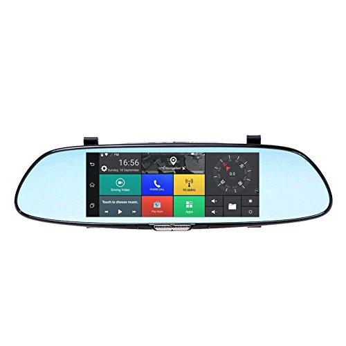 JUNERAIN Junierain Dashcam 170° 17,8 cm Dual Linse Auto Rückspiegel DVR Video Recorder Kamera Android 5.0 3G WiFi GPS