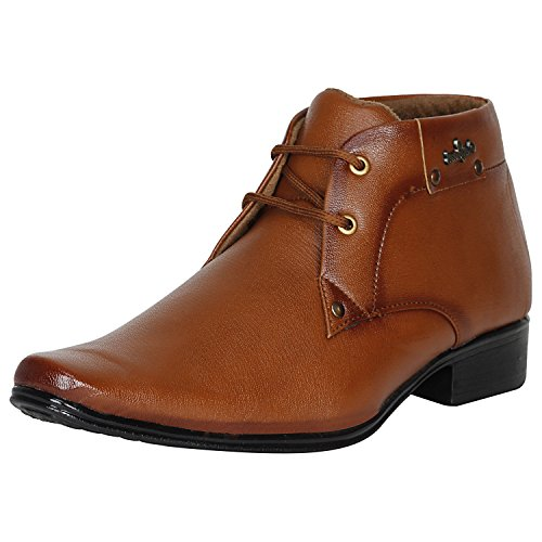 Kraasa Men's Tans Synthetic Formal Shoes - 6